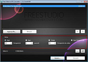 Free Video to JPG Converter: seleziona i profili